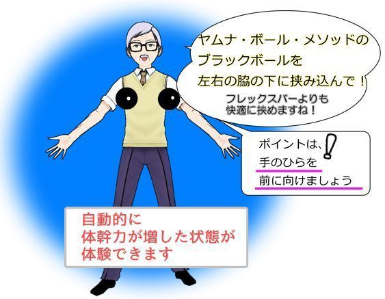 ヤムナ・ボール・メソッド用ブラックボールを脇に挟んでみよう!.jpg